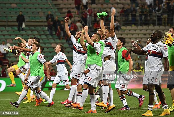 Players of Genoa after the Serie A match between US Sassuolo Calcio and Genoa CFC at Mapei Stadium on May 31 2015 in Reggio nell'Emilia Italy