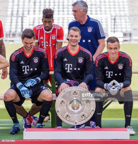 Players of German first division Bundesliga football club FC Bayern Munich pose for a team photo on August 8 2017 in Munich southern Germany Bayern...