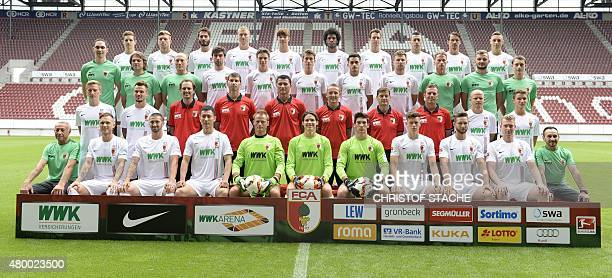 Players of German first division Bundesliga football team FC Augsburg pose for a team photo during the team presentation of the German first division...