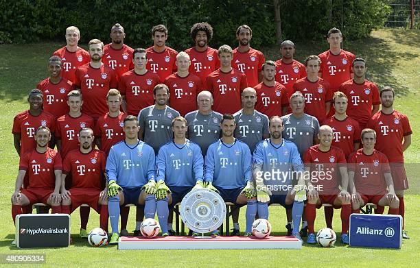 Players of German first division Bundesliga football team FC Bayern Munich pose for a team photo during the team presentation of the German first...