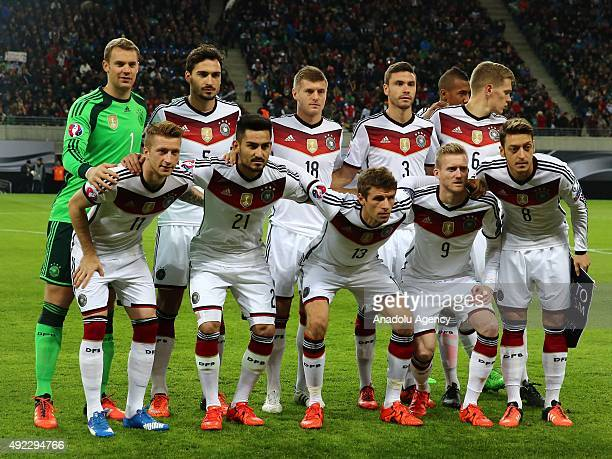 Players of German national football team pose ahead of the Euro 2016 group D qualifying football match between Germany and Georgia on October 11 2015...