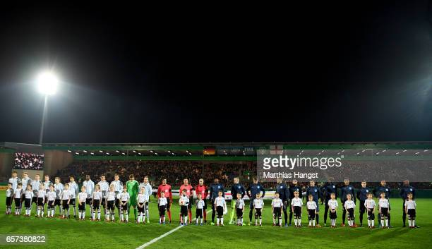 Players of Germany and England line up during the U21 international friendly match between Germany and England at BRITAArena on March 24 2017 in...