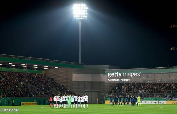 Players of Germany and England take a minute of silence in tribute of the London attack during the U21 international friendly match between Germany...