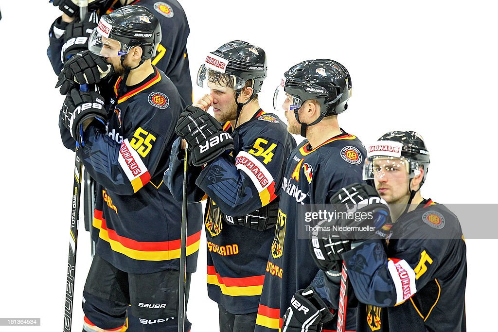 Players of Germany are seen after the Olympic Icehockey Qualifier match between Germany and Austria on February 10, 2013 in Bietigheim-Bissingen, Germany.