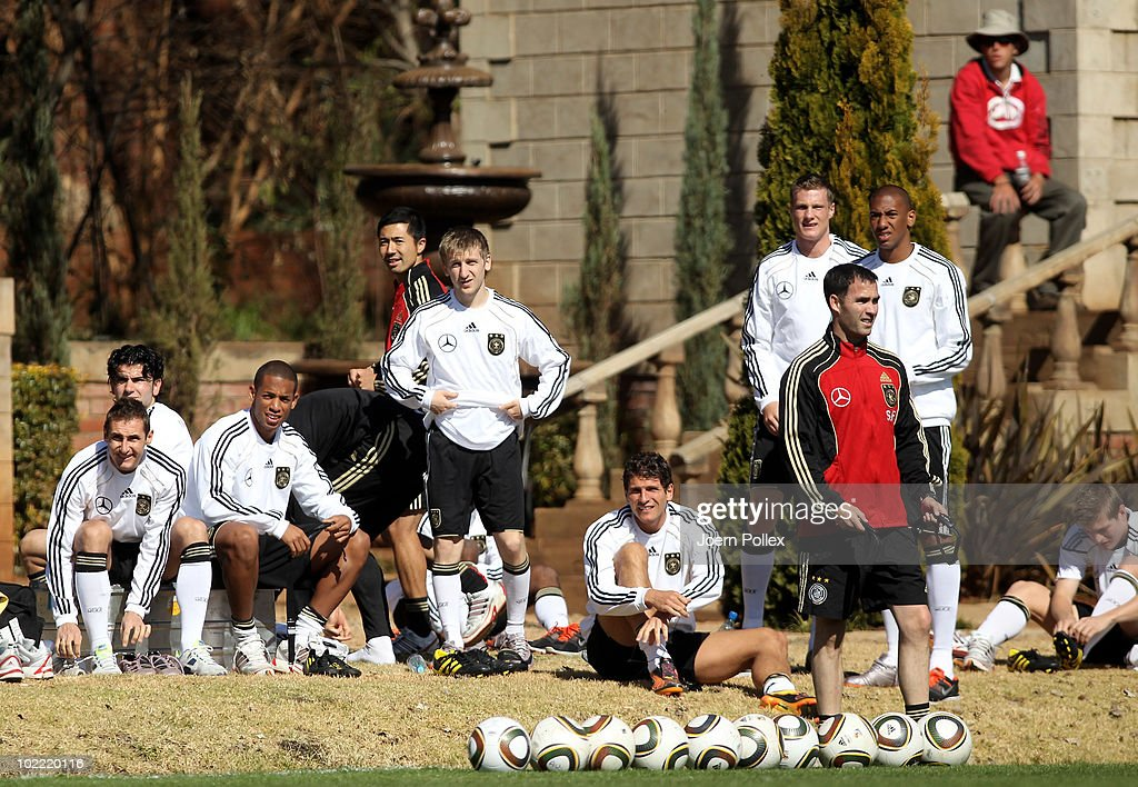Players of Germany are seen prior to a training at Velmore Grande Hotel on June 19, 2010 in Pretoria, South Africa.