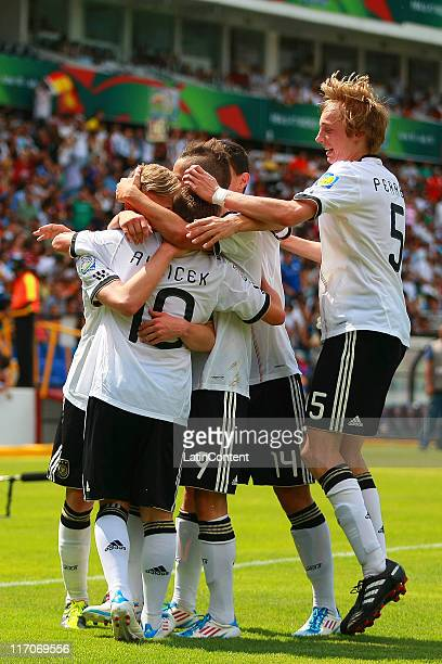 Players of Germany celebrate a scored goal during the FIFA U17 World Cup Mexico 2011 Group E match between Germany and Ecuador at the Corregidora...