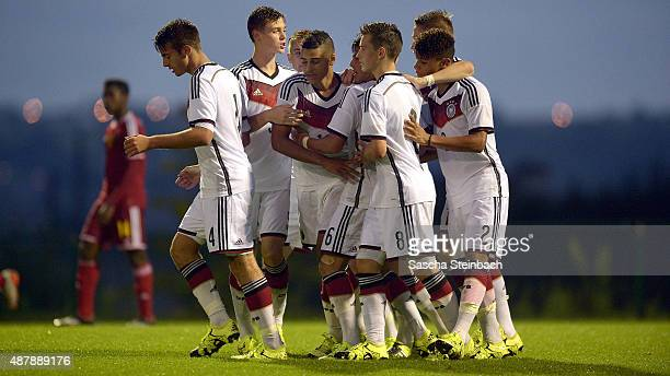 Players of Germany celebrate after Noah Awuku scores his team's third goal during the U16 international friendly match between Belgium and Germany on...