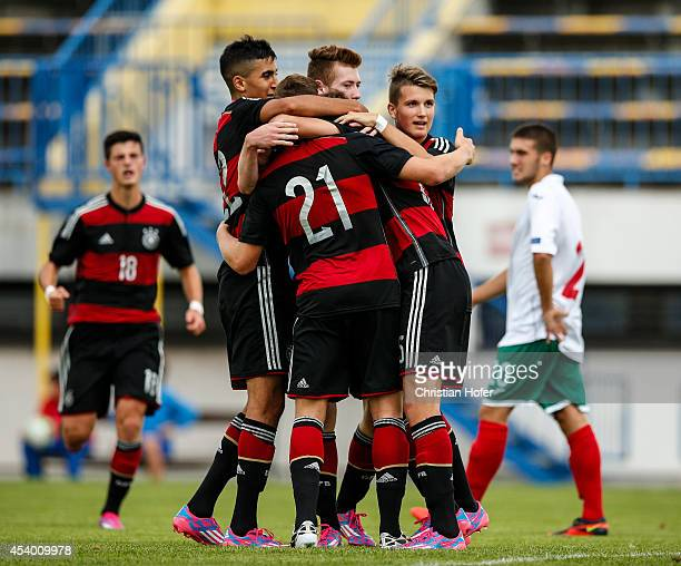 Players of Germany celebrate after scoring during the TOTO Cup match between U17 Bulgaria and U17 Germany on August 23 2014 at Stadium Wiener Neudorf...
