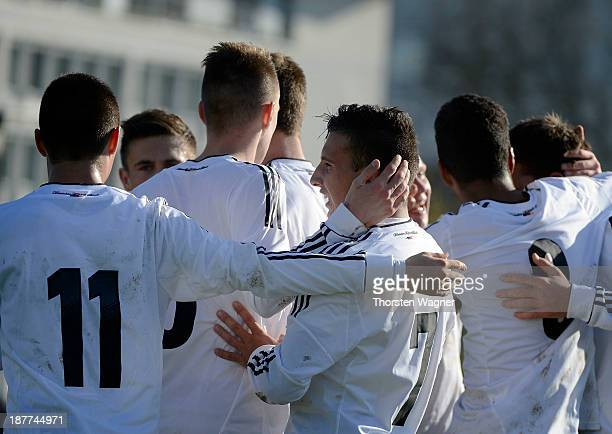 Players of Germany celebrate after scoring the opening goal during the U17 international friendly match between Germany and Spain at stadium Wetzlar...