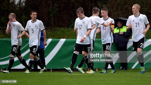 Players of Germany celebrate after scoring their third goal during the U16 international friendly match between Germany and Italy at Stadion am...
