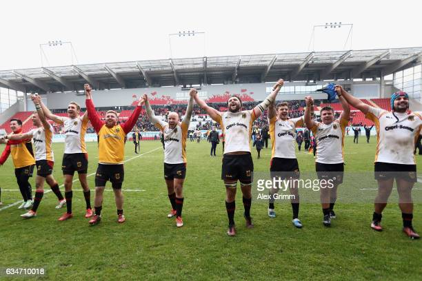 Players of Germany celebrate after the European Shield Rugby match between Germany and Romania at SpardaBankHessenStadion on February 11 2017 in...