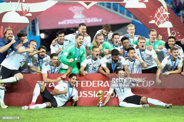 Players of Germany celebrate after the FIFA Confederations Cup Russia 2017 final between Chile and Germany at Saint Petersburg Stadium on July 2 2017...