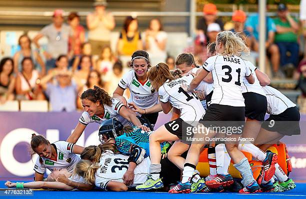 Players of Germany celebrate after the winning during the match between Germany and Spain at Polideportivo Virgen del Carmen during day six of the...
