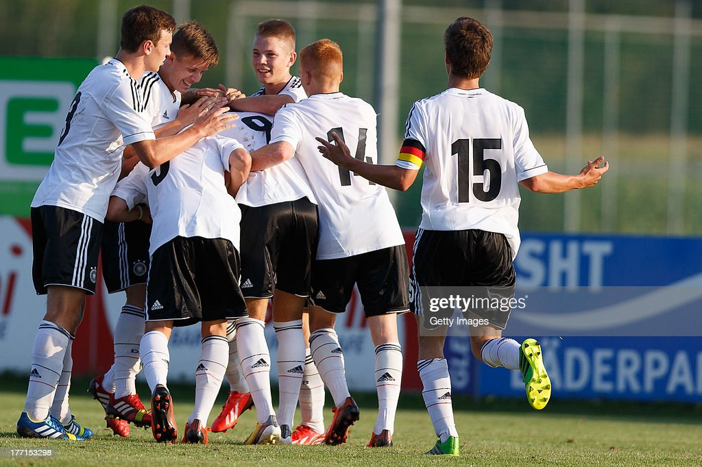 Players of Germany celebrate during the U17 Toto-Cup match between Germany and Belgium on August 21, 2013 in Gleisdorf, Austria.