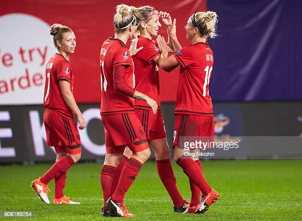Players of Germany celebrate the goal during the UEFA Women's Euro 2017 Qualifier between Russia and Germany at Arena Khimki on September 16 2016 in...