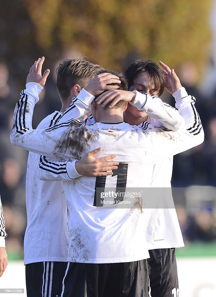 Players of Germany celebrate the third goal of the match during the International Friendly match between U19 Germany and U19 France at Rheinstadium on November 14, 2012 in Kehl, Germany.