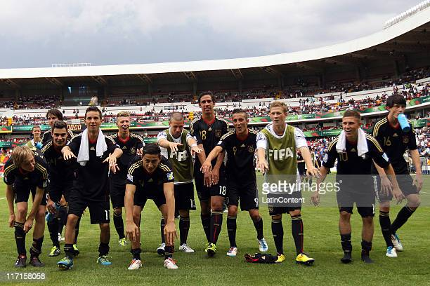 Players of Germany celebrate the victory against Burkina Faso during the FIFA U17 World Cup Mexico 2011 Group E match between Burkina Faso and...