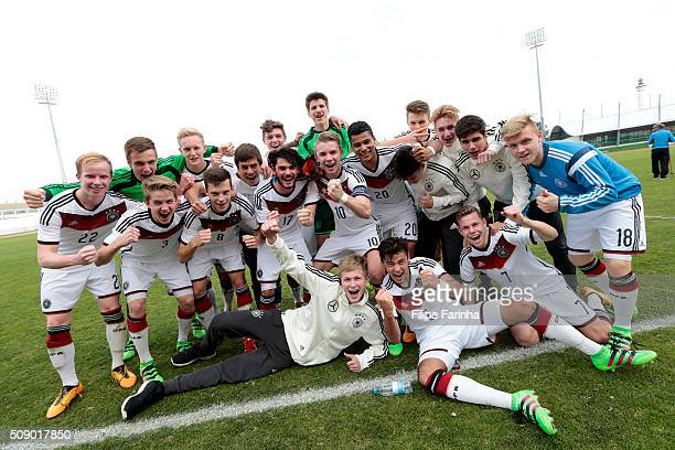 Players of Germany celebrate the victory during the UEFA Under16 match between U16 Germany v U16 Netherlands on February 8 2016 in Vila Real de Santo...
