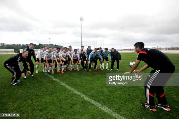 Players of Germany celebrate the victory during the Under17 Algarve Cup between U17 England and U17 Germany at Lagos sport complex on March 02 2014...