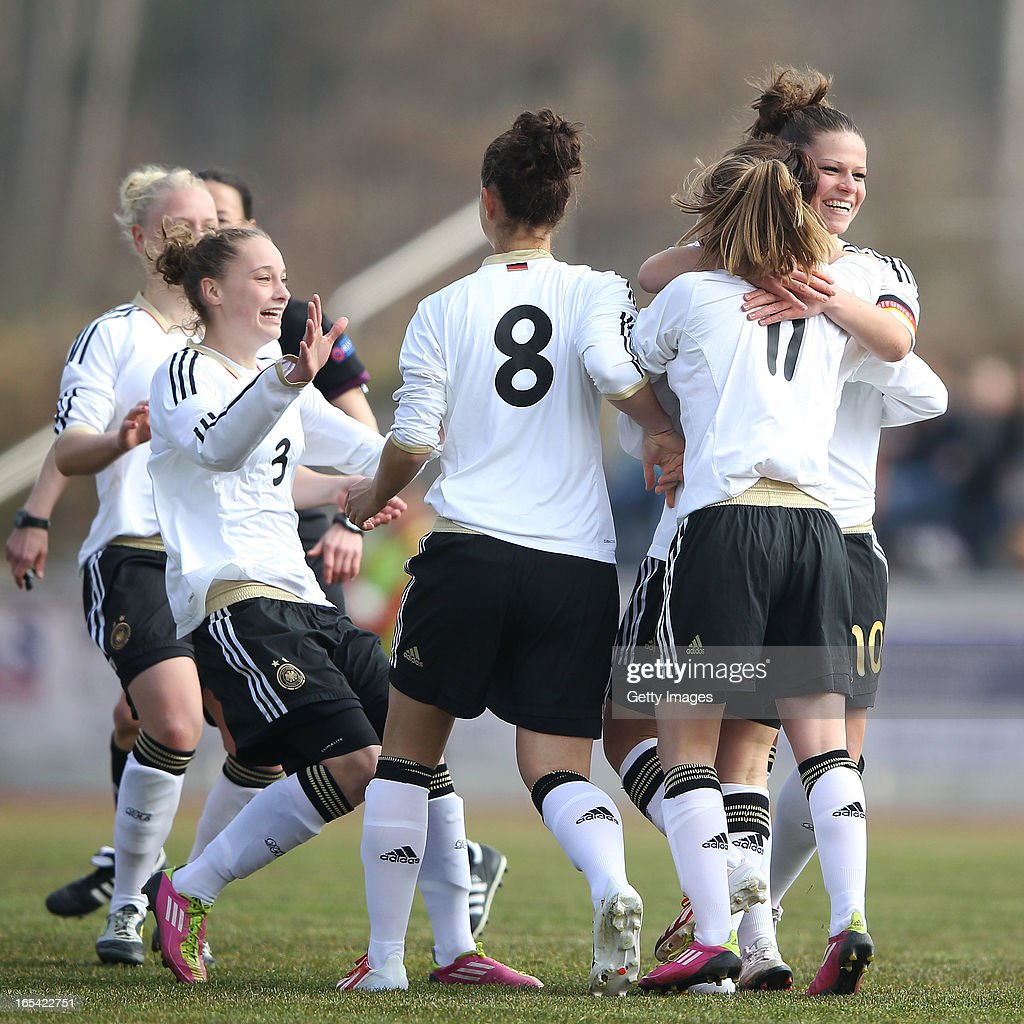 Players of Germany celebrate their team's first goal during the Women's UEFA U19 Euro Qualification match between U19 Germany and U19 Spain at Waldstadion in Viernheim on April 4, 2013 in Viernheim, Germany.
