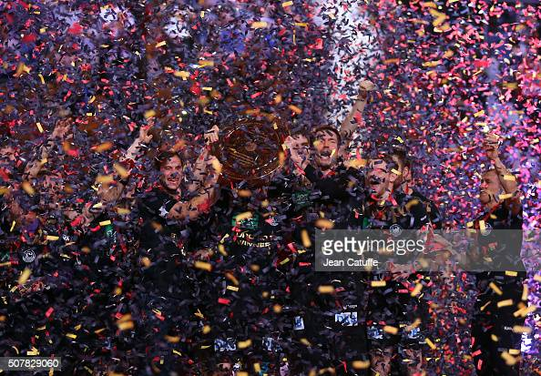 Players of Germany celebrate their victory during the trophy ceremony following the Gold Medal match the final of the Men's EHF European Handball...