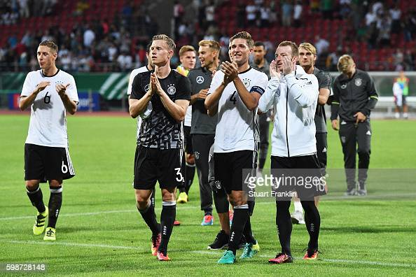 Players of Germany celebrate their winning the Under21 friendly match between U21 Germany and U21 Slovakia at Auestadion on September 2 2016 in...
