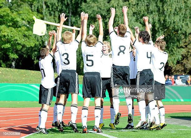 Players of Germany celebrates after Patrick Weihrauch scored the first goal during the U17 international friendly match between Germany and Israel at...