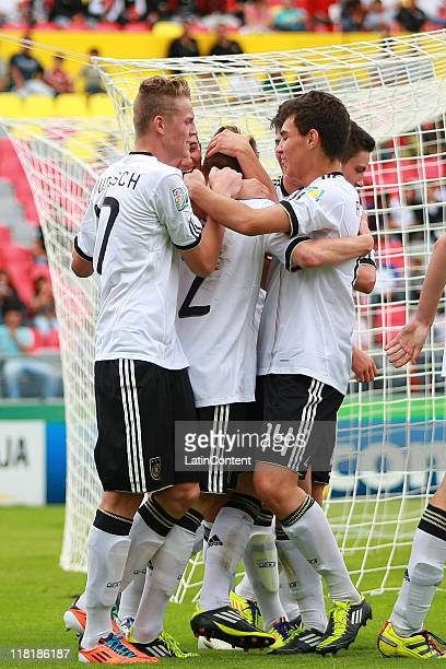 Players of Germany celebrates ascored goal during the FIFA U17 World Cup Mexico 2011 Quarter Final match between Germany and England at the Morelos...