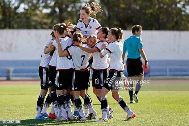 Players of Germany celebrating scoring during the match of the U16 Girl's Germany v U16 Girl's France UEFA Tournament on February 15 2016 in Vila...