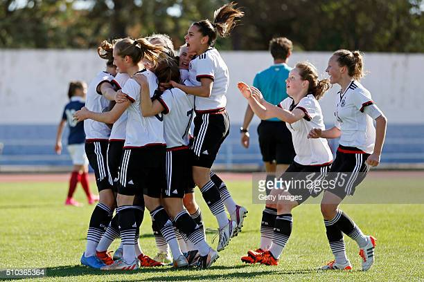 Players of Germany celebrating the goal during the match of the U16 Girl's Germany v U16 Girl's France UEFA Tournament on February 15 2016 in Vila...