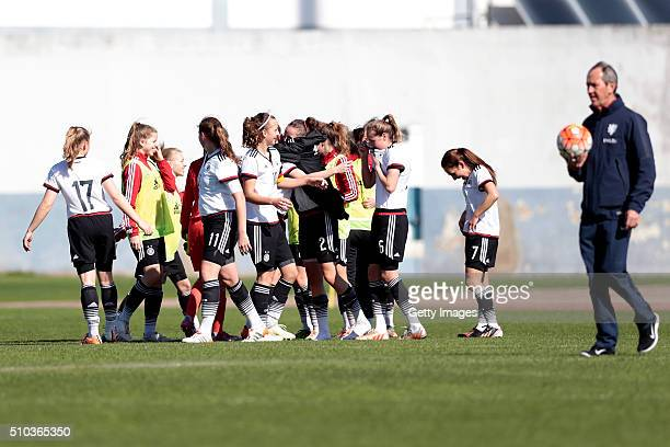 Players of Germany celebrating the vitory of the match of the U16 Girl's Germany v U16 Girl's France UEFA Tournament on February 15 2016 in Vila Real...