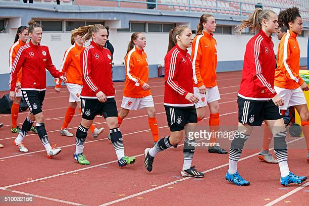 players of Germany entering to the game Klara Buhl Gina Chmielinski Lara Schejk Spohie Riepl during the match of the U16 Girl's Netherlands v U16...