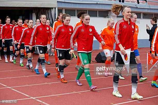 players of Germany entering to the game ront to back starting the captain Lena Lattwein Laura Sieger Anna Hausdorff Klara Buhl Gina Chmielinski Lara...