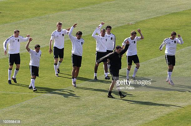 Players of Germany exercise during a training session at Super stadium on July 1 2010 in Pretoria South Africa