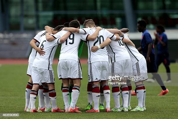 Players of Germany huddle before the kickoff during the U16 UEFA development tournament between Germany and Netherlands on February 16 2015 in Vila...