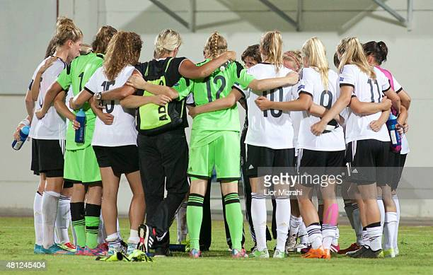 Players of Germany hug after the UEFA Women's Under19 European Championship group stage match between U19 Germany and U19 Norway at Lod Municipal...