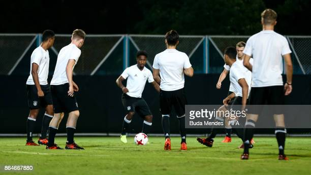 Players of Germany in action during their training session a day before the FIFA U17 World Cup India 2017 Quarter Final match between Germany and...
