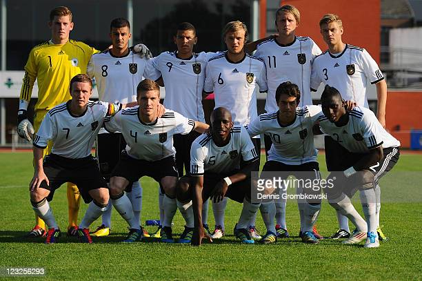 Players of Germany line up for a team photo prior to the U19 International friendly match between Belgium and Germany at Stade Bielmont on September...