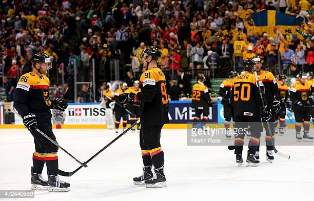 Players of Germany look dejected after losing the IIHF World Championship group A match between Sweden and Germany at o2 Arena on May 7 2015 in...