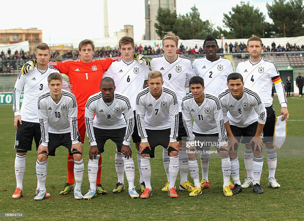 Players of Germany pose for a group photograph before the U20 International Friendly match between Italy and Germany at Stadio Cosimo Puttilli on February 6, 2013 in Barletta, Italy.