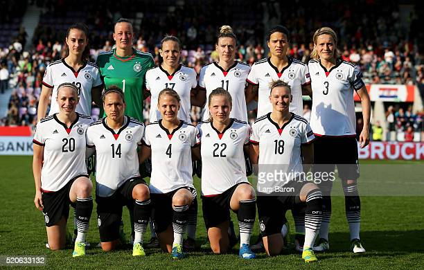 Players of Germany pose for a picture during the UEFA Women's Euro 2017 qualifier between Germany and Croatia at Osnatel Arena on April 12 2016 in...
