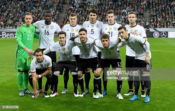 Players of Germany pose for a picture prior to the International Friendly match between Germany and Italy at Allianz Arena on March 29 2016 in Munich...