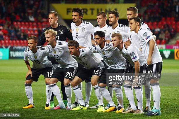 Players of Germany pose for a team photo prior to the FIFA World Cup Russia 2018 Group C Qualifier between Czech Republic and Germany at Eden Arena...