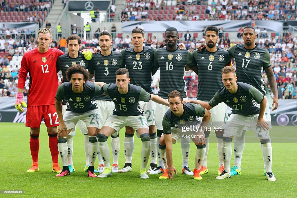 Players of Germany pose for a team photo prior to the international friendly match between Germany and Slovakia at WWK-Arena on May 29, 2016 in Augsburg, Germany.