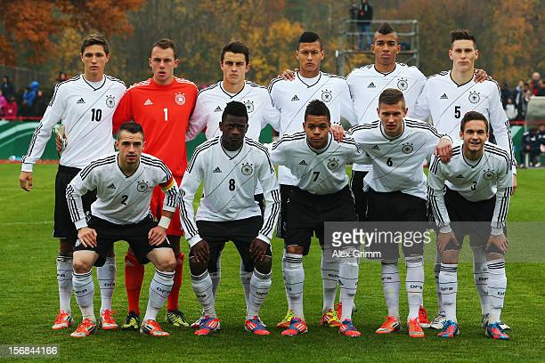 Players of Germany pose for a team photo prior to the U18 international friendly match between Germany and Italy at Sportpark on November 14 2012 in...
