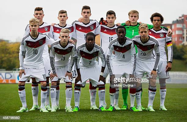 Players of Germany pose for photographers before the international friendly match between U16 Czech Republic and U16 Germany on November 11 2014 in...