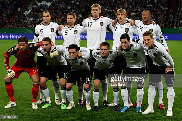 Players of Germany pose prior to the International Friendly match between Germany and Ivory Coast at the Schalke Arena on November 18 2009 in...