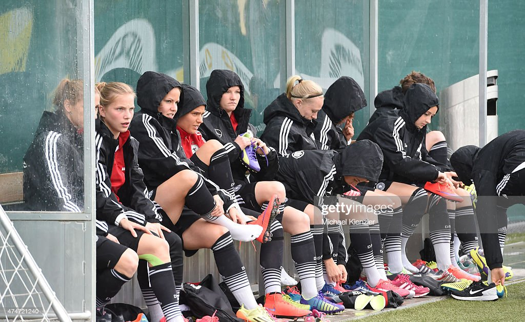 Players of Germany prepare during the German National Women's team training on May 25, 2015 in Wollerau, Switzerland.