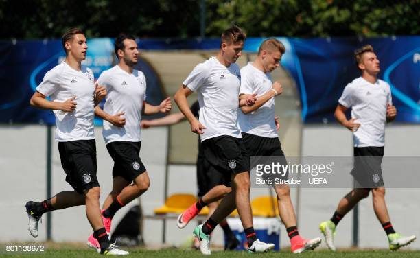 Players of Germany run during the MD1 training session of the U21 national team of Germany at stadium Wieliczka on June 26 2017 in Krakow Poland