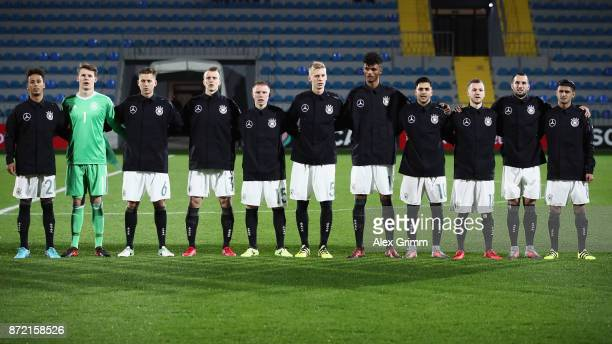 Players of Germany stand together prior to the UEFA Under21 Euro 2019 Qualifier match between Azerbaijan U21 and Germany U21 at Dalga Arena on...